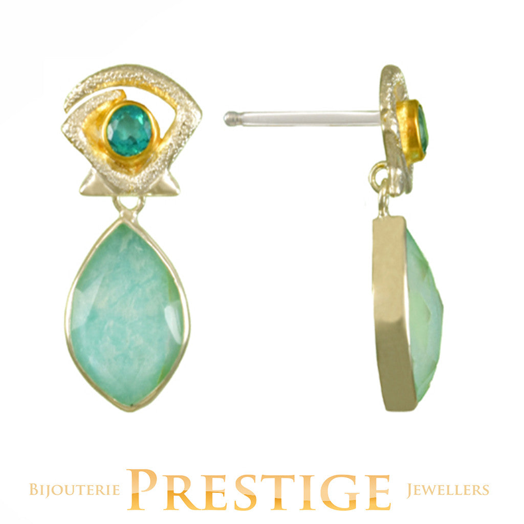 MICHOU SILVER & 22KT VERMEIL TOPAZ, AMAZONITE, MOP & QUARTZ EARRINGS