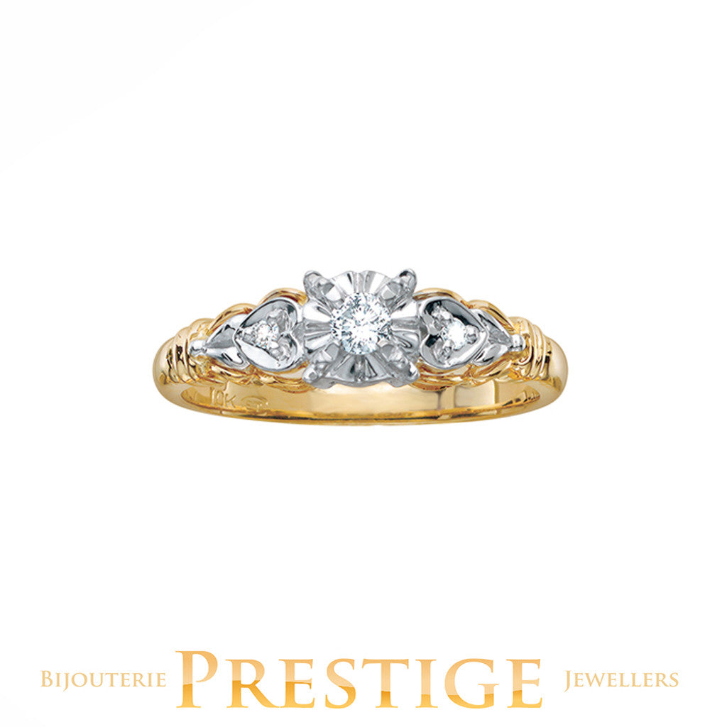 ENGAGEMENT RING 10KT YELLOW & WHITE GOLD - VINTAGE STYLE
