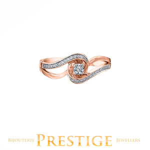 CANADIAN DIAMOND ENGAGEMENT RING - 10KT ROSE & WHITE GOLD