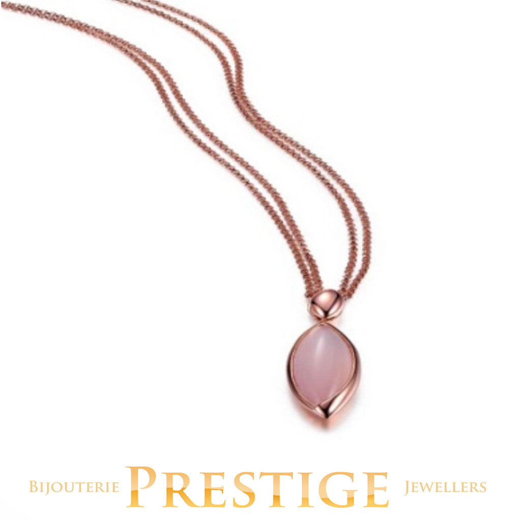 ELLE BLINK GENUINE DYED PINK CHALCEDONY NECKLACE 18+2""