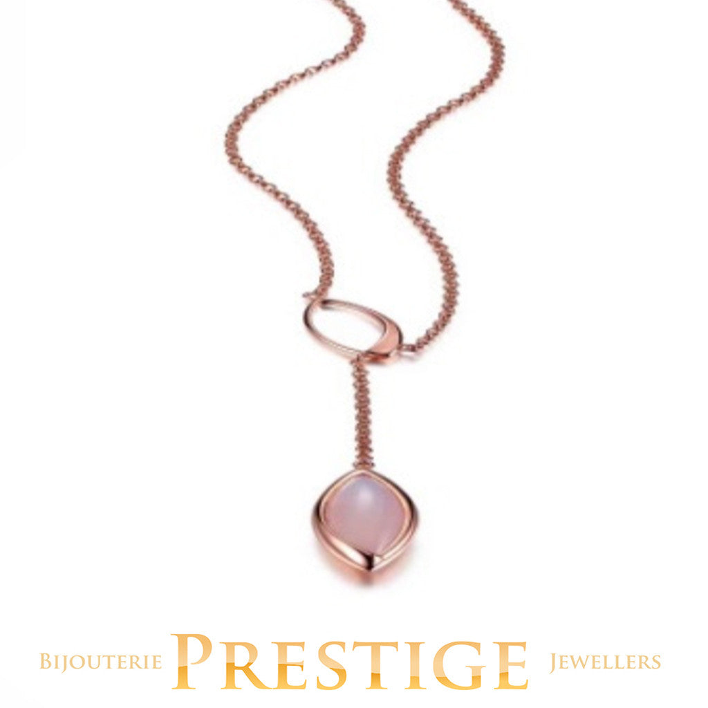 "ELLE BLINK GENUINE DYED PINK CHALCEDONY ""Y"" NECKLACE 18+2"""