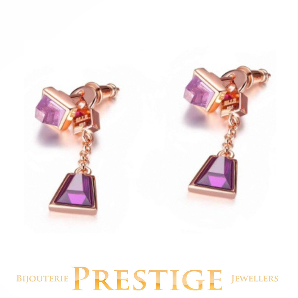 ELLE PARADOX PURPLE RED CUBIC ZIRCONIA POST EARRINGS