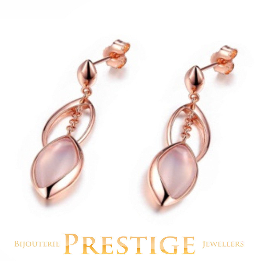 ELLE BLINK GENUINE DYED PINK CHALCEDONY POST EARRINGS
