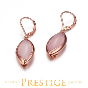 ELLE BLINK GENUINE DYED PINK CHALCEDONY LEVERBACK EARRINGS