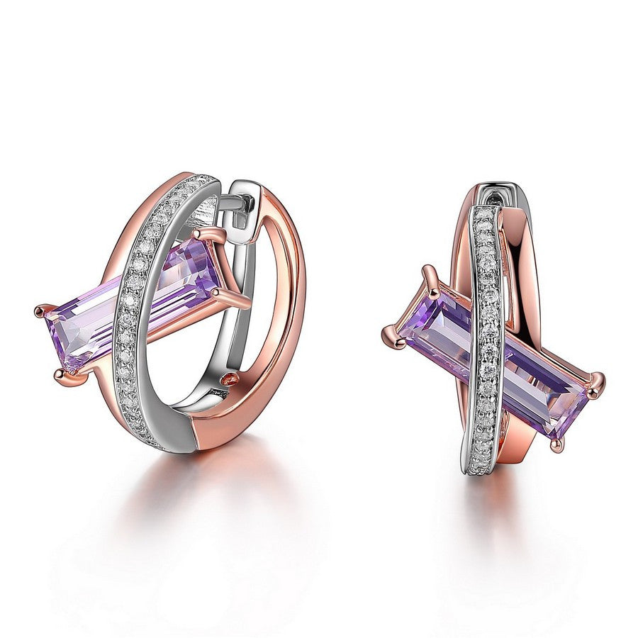ELLE REVOLUTION 2 TONE ROSE GOLD GENUINE PURPLE QUARTZ & CZ 12X4MM  HOOP EARRINGS