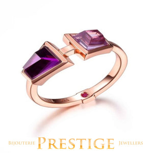 ELLE PARADOX DOUBLE STONE PURPLE RED CZ RING - MULTIPLE SIZES