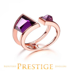 ELLE PARADOX DOUBLE STONE PURPLE RED CZ OPEN RING - MULTIPLE SIZES
