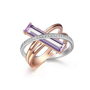 ELLE REVOLUTION 2 TONE ROSE GOLD GENUINE PURPLE QUARTZ & CZ CRISS CROSS RING