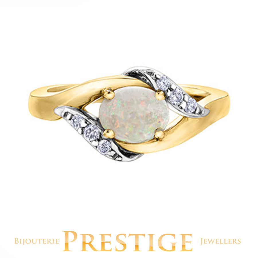 LADIES OVAL OPAL & DIAMOND RING - 10KT