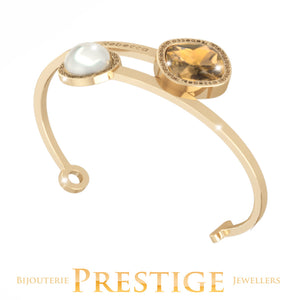 REBECCA TRILOGY CUFF WITH PEARL & SWAROVSKI CRYSTAL