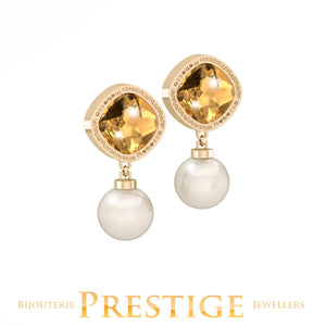 REBECCA TRILOGY EARRINGS WITH PEARLS & SWAROVSKI CRYSTALS