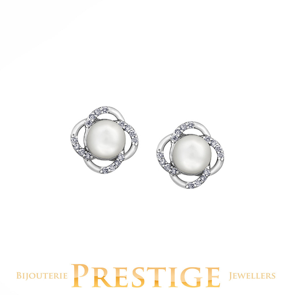 CULTURED PEARL STUDS 10KT WHITE GOLD