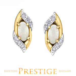 LADIES OVAL OPAL & DIAMOND EARRINGS - 10KT