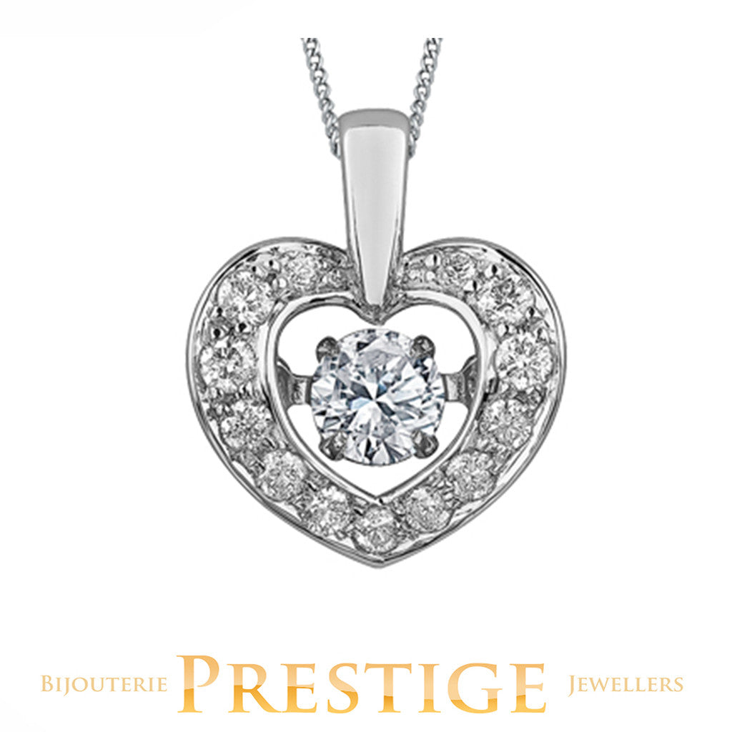 LADIES PULSE HEART DIAMOND SHAPED PENDANT - 10KT