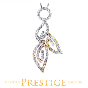 LADIES DIAMOND LEAVES SHAPED PENDANT - 14KT