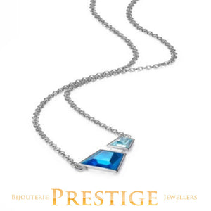 ELLE PARADOX DOUBEL BLUE CZ NECKLACE 16+2""