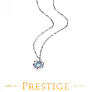 ELLE ROMANCE GENUINE SKY BLUE TOPAZ FLORAL NECKLACE 16+2""