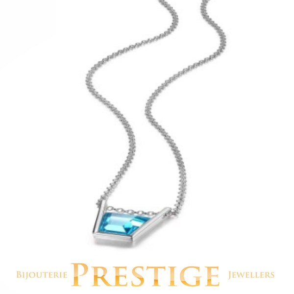 ELLE PARADOX SINGLE BLUE CZ NECKLACE 18+2""