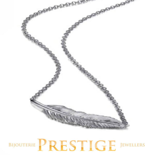ELLE PLUME  FEATHER SIDEWAYS NECKLACE 16+2""