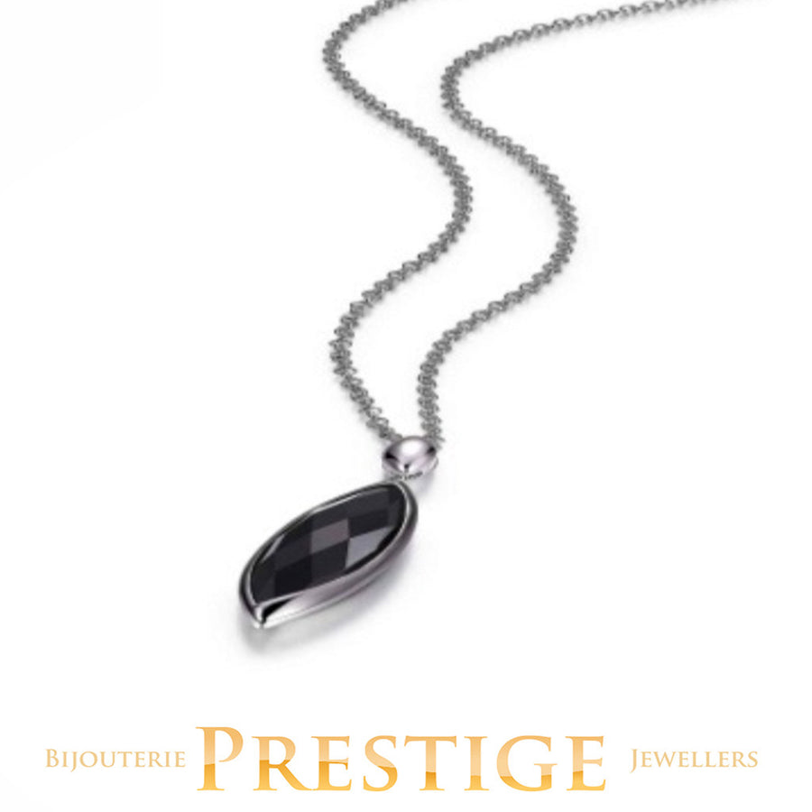 ELLE BLINK GENUINE BLACK AGATE LONG NECKLACE 30+2""