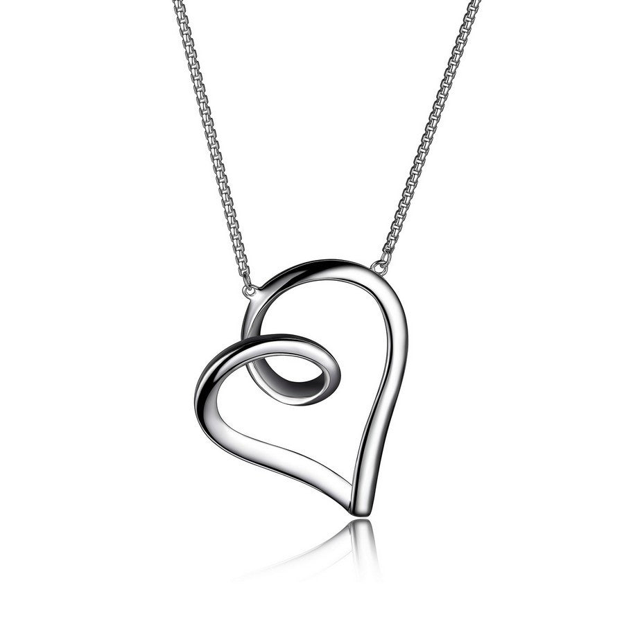ETERNITY HEART 30X27MM NECKLACE 18+2""