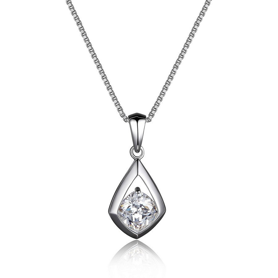ELLE PROMISE DROP SOLITAIRE 6MM CUSHION CUT NECKLACE 16+2""