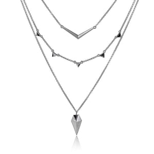 ELLE STILETTO MULTI LAYERED INTERCHANGABLE NECKLACE 15+2""