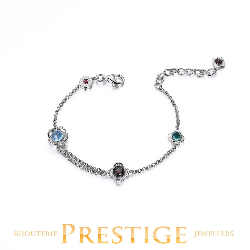 ELLE ROMANCE GENUINE SKY BLUE TOPAZ, GREY MOTHER OF PEARL & GREEN QUARTZ FLORAL BRACELET 6.5+1.5""