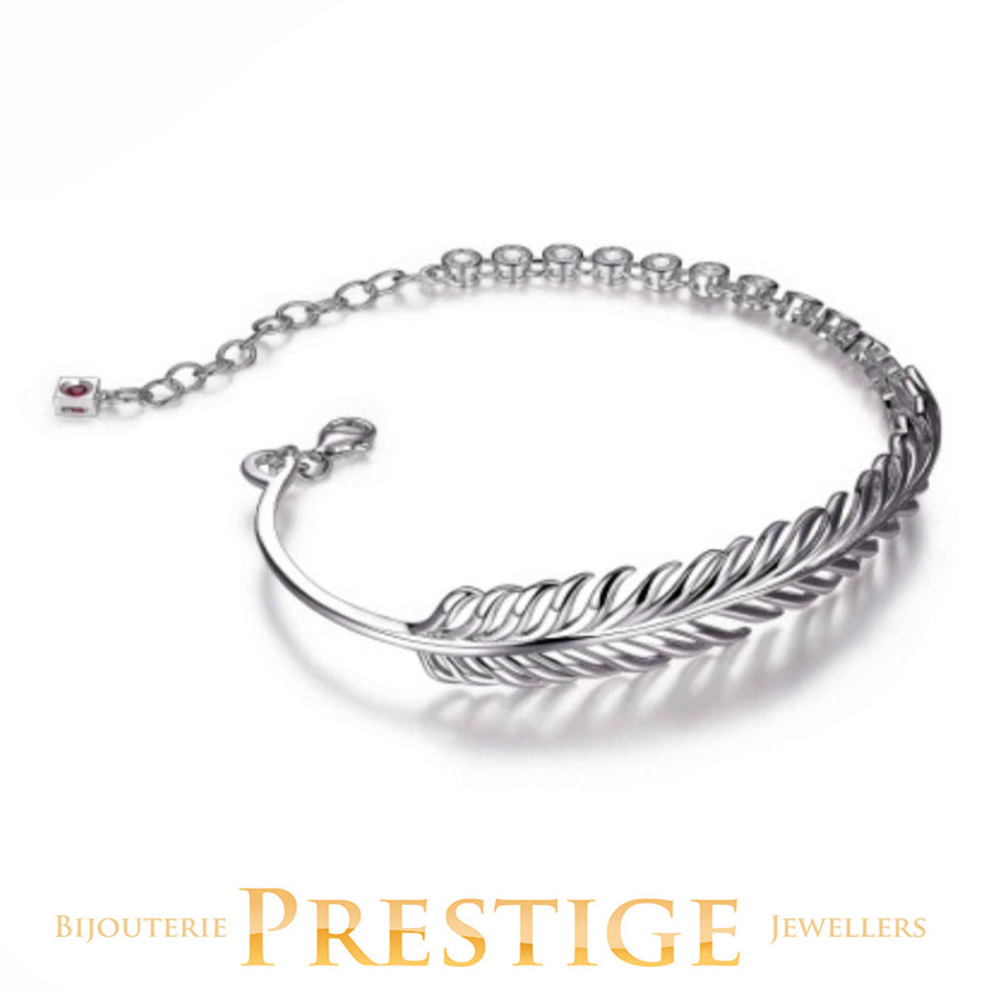 ELLE PLUME FEATHER CZ BRACELET 7.25+1.5""