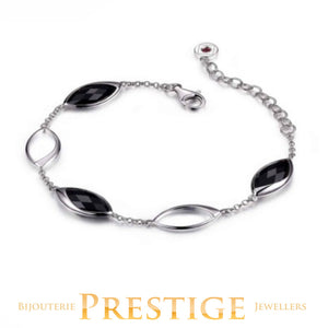 ELLE BLINK GENUINE BLACK AGATE STATION BRACELET 6.5+1.5""