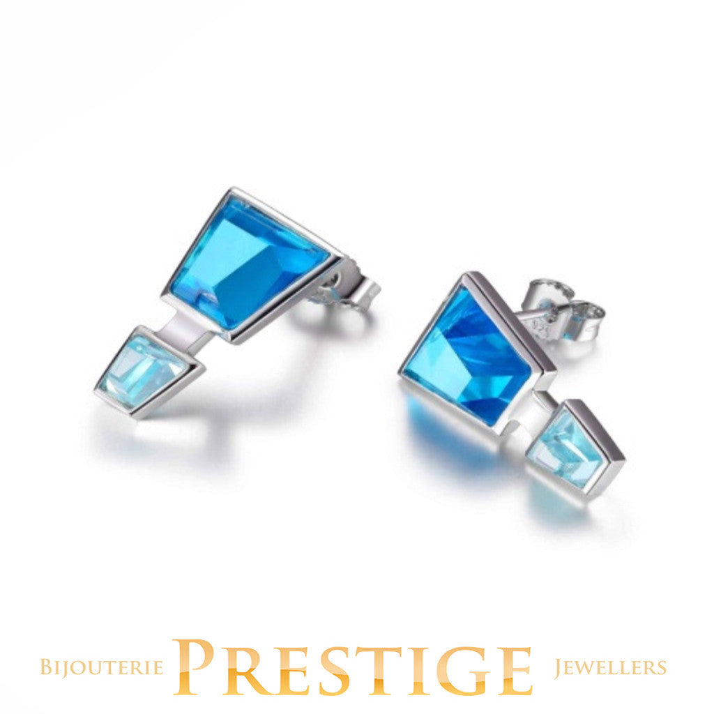 ELLE PARADOX BLUE CZ POST EARRINGS