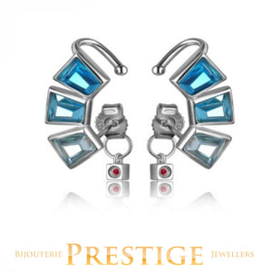 ELLE PARADOX BLUE CZ POST & CUFF EARRINGS