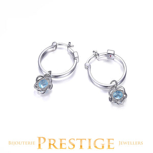 ELLE ROMANCE GENUINE SKY BLUE TOPAZ FLORAL HOOP EARRINGS 20MM