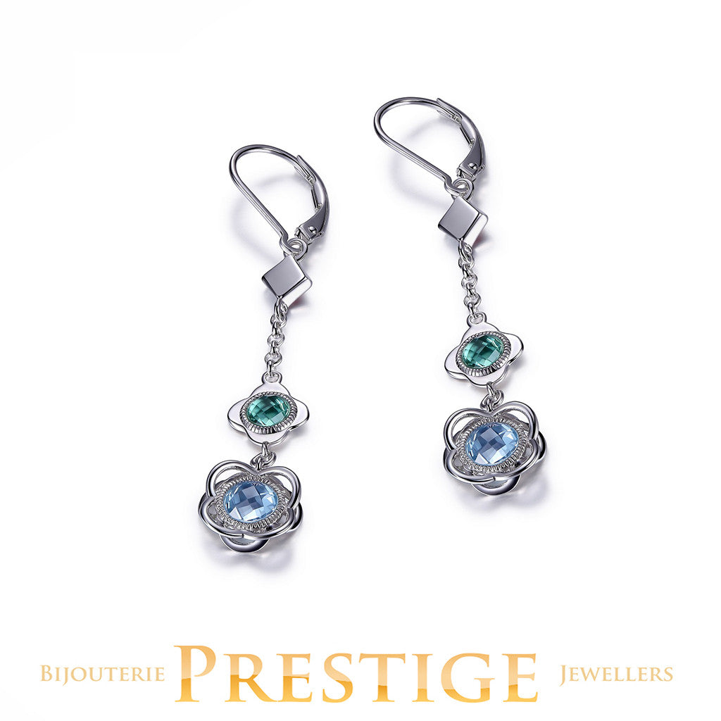 ELLE ROMANCE GENUINE SKY BLUE TOPAZ & GREEN QUARTZ FLORAL DANGLE EARRINGS