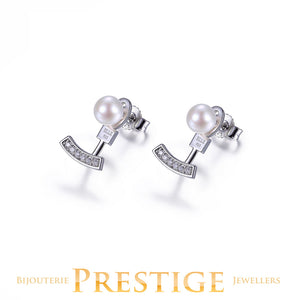 ELLE Majestic Stud With Earring Jacket - Genuine Pearl & CZ