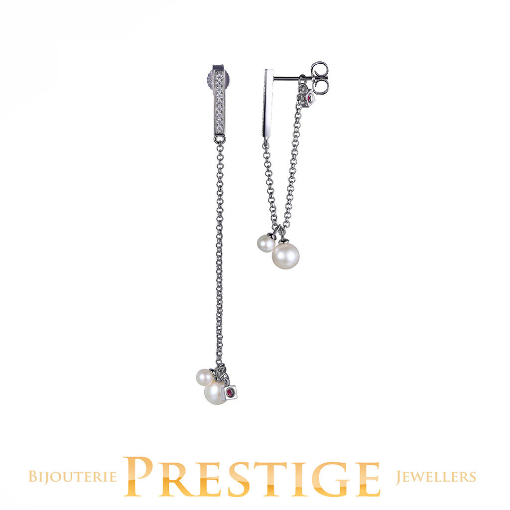 ELLE MAJESTIC STUD DANGLE 2 IN 1 - GENUINE PEARL & CZ