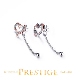 ELLE Amour 2 Tone CZ Post Earrings Heart Dangle