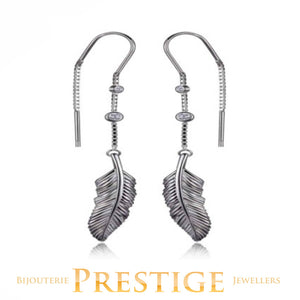 ELLE PLUME FEATHER CZ THREAD EARRINGS