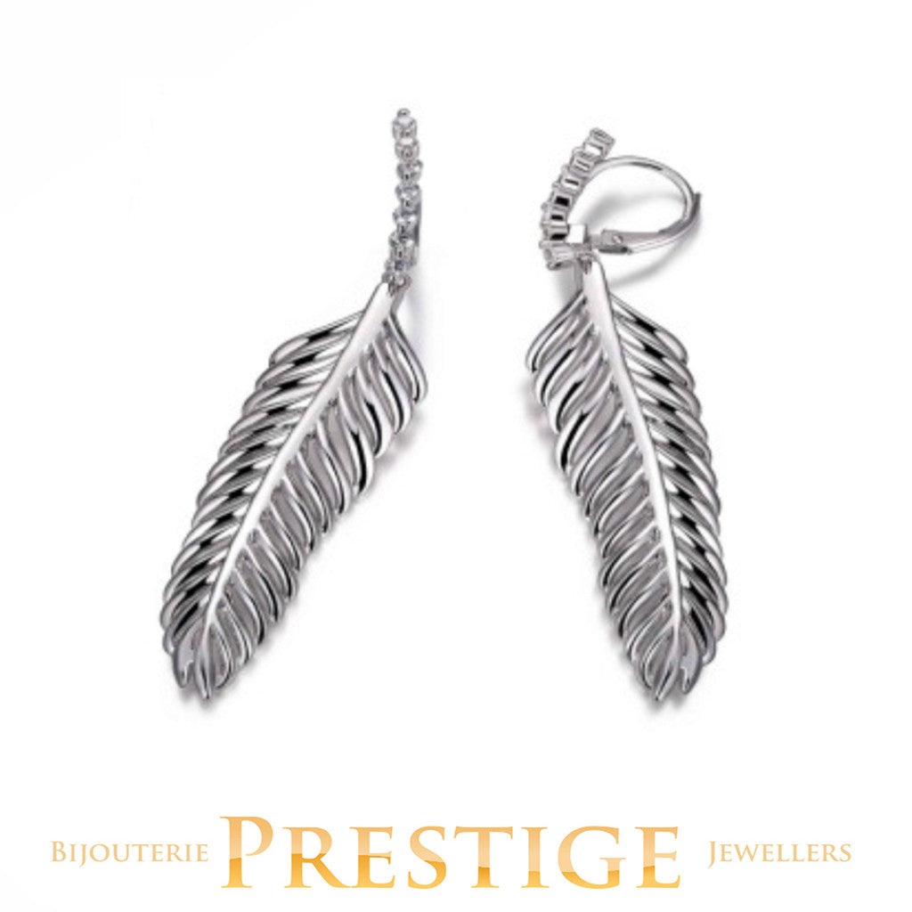 ELLE PLUME FEATHER DANGLE LEVERBACK CZ EARRINGS
