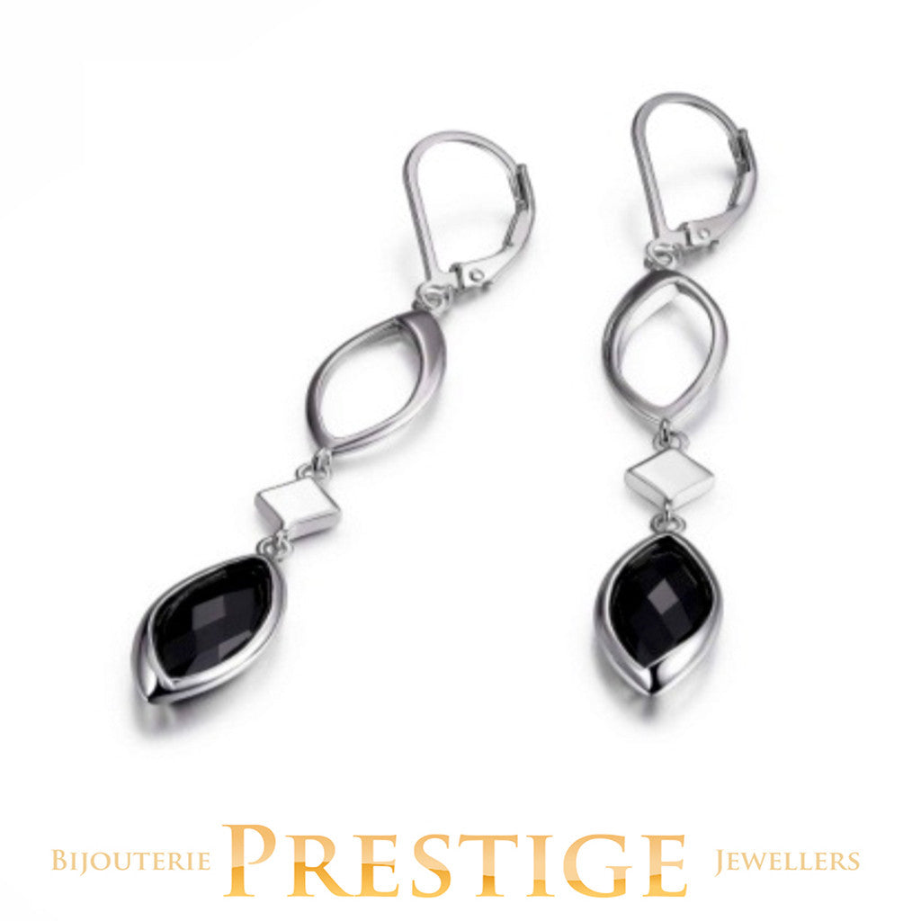 ELLE BLINK GENUINE BLACK AGATE DROP LEVERBACK EARRINGS