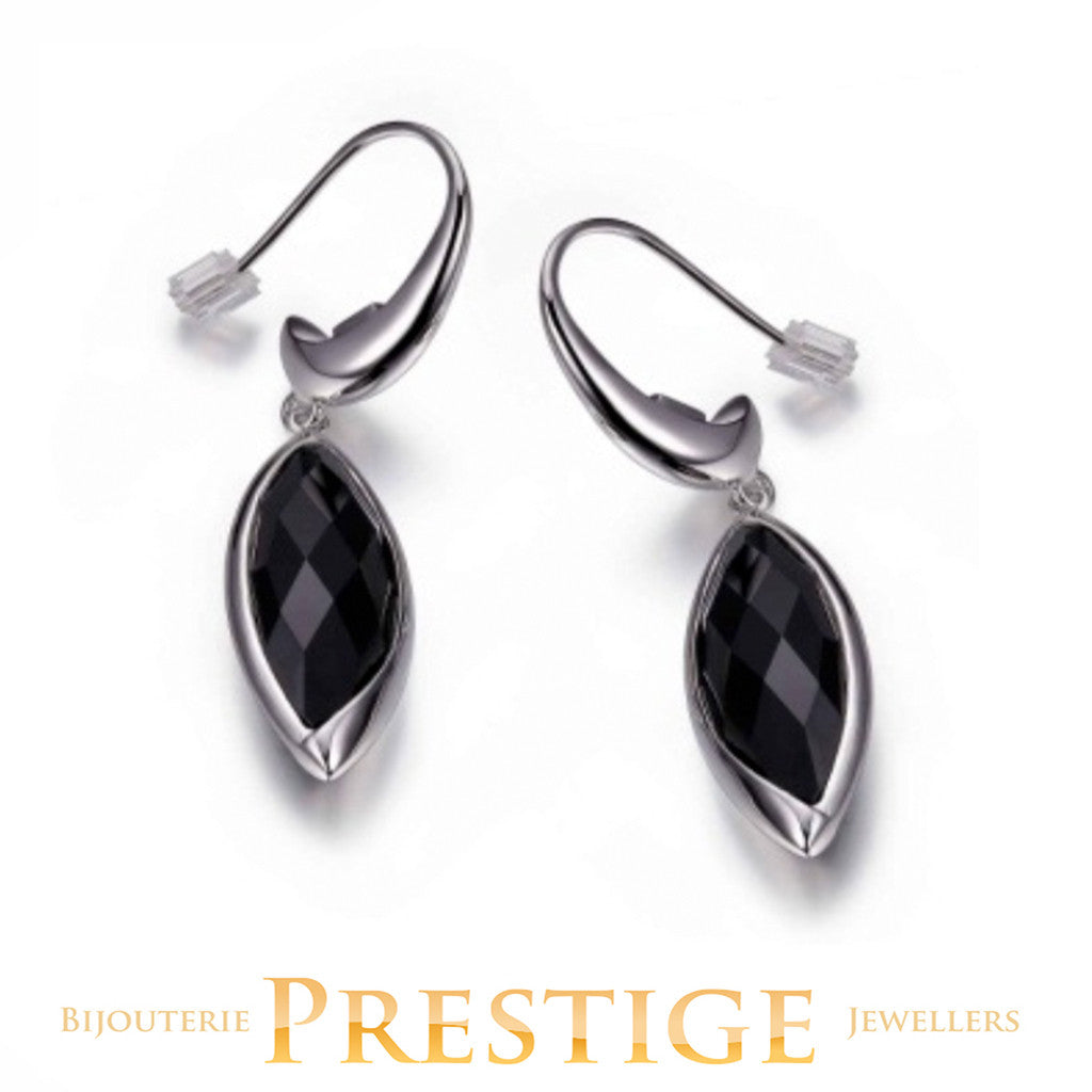 ELLE BLINK GENUINE BLACK AGATE FISH HOOK EARRINGS