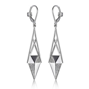 ELLESTILETTO LONG CZ LEVERBACK EARRINGS