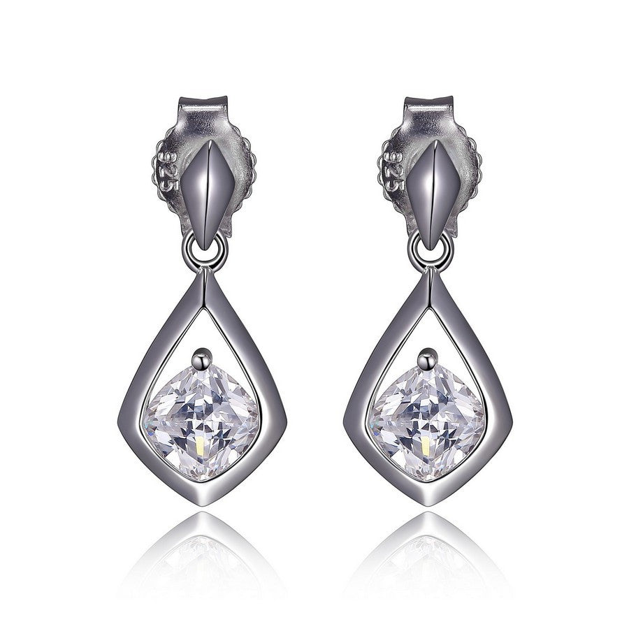 ELLE PROMISE DROP SOLITAIRE 5MM CUSHION CUT POST EARRINGS