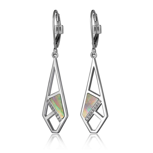 ELLE CHARISMA GENUINE GREY MOTHER OF PEARL & CZ CUT OUT LEVERBACK EARRINGS