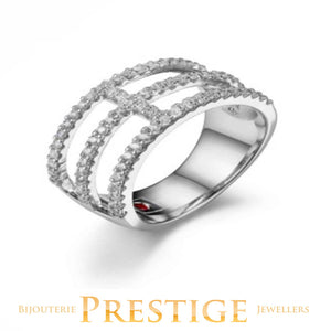 ELLE RODEO DRIVE 3 ROW CZ RING
