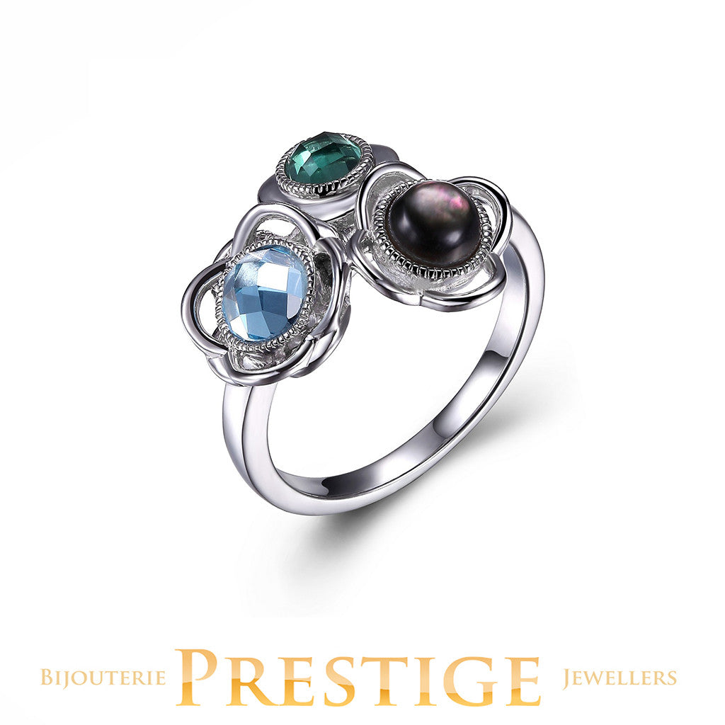 ELLE ROMANCE GENUINE BLUE TOPAZ, GREY MOTHER OF PEARL & GREEN QUARTZ FLORAL RING
