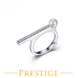 ELLE MAJESTIC RING - GENUINE PEARL & CZ