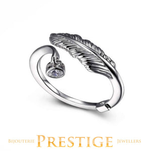 ELLE PLUME OPEN FEATHER CZ CHARM RING - MULTIPLE SIZES