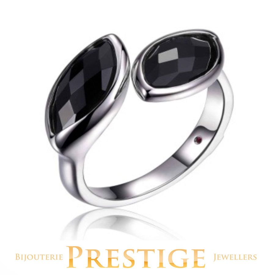 ELLE BLINK GENUINE BLACK AGATE DOUBLE STONE RING - MULTIPLE SIZES