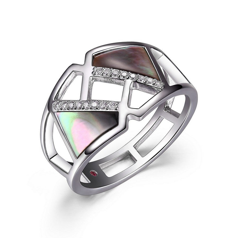 ELLE CHARISMA GENUINE GREY MOTHER OF PEARL & CZ CUT OUT RING